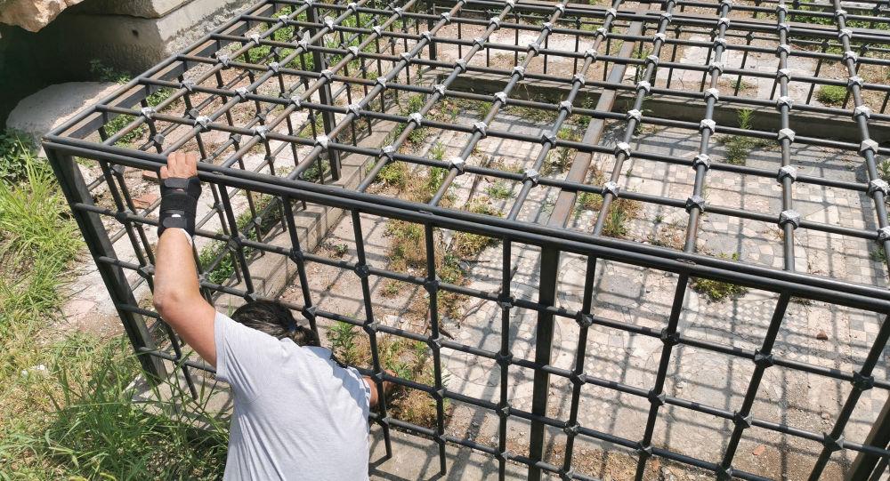 Kafesle 'korunan' Bizans mozaiği, yabani otlardan görünmüyor