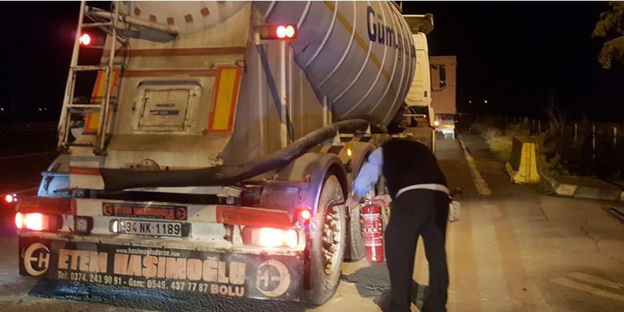 Polisin dikkati kimyasal yüklü tankerin yanmasını önledi