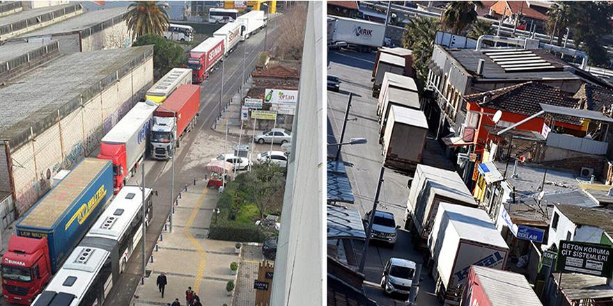 Tek yön olan caddede ters yönde TIR trafiği